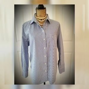 Pinstripe button down pima cotton Med womens